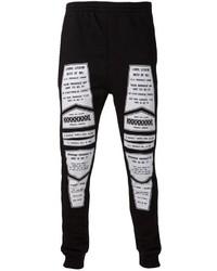 Pantalón de Chándal Estampado Negro y Blanco