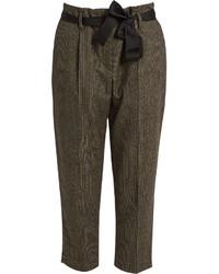 Pantalón de pinzas a cuadros marrón