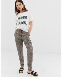 Pantalón de pinzas a cuadros marrón de Ichi