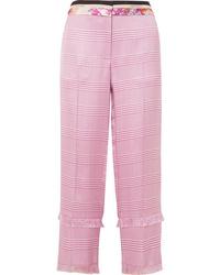 Pantalón de pinzas a cuadros rosado