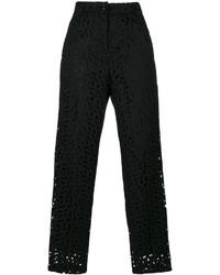 Pantalón de pinzas bordado negro de Moschino