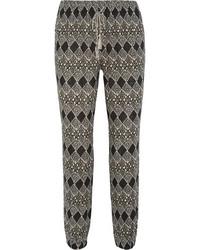 Pantalón de pinzas con estampado geométrico negro de Madewell