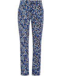 Pantalón de pinzas con print de flores azul