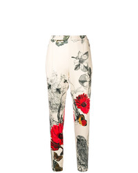 Pantalón de pinzas con print de flores blanco de Moncler