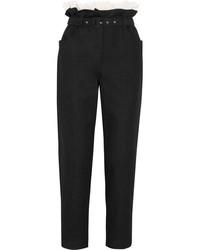Pantalón de pinzas con volante negro