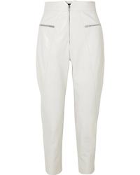 Pantalón de pinzas de cuero blanco de Isabel Marant