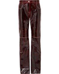 Pantalón de pinzas de cuero burdeos