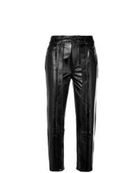 Pantalón de pinzas de cuero negro de Aalto