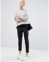 Pantalón de Pinzas de Cuero Negro de Asos