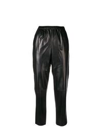 Pantalón de pinzas de cuero negro de Drome