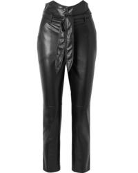 Pantalón de pinzas de cuero negro de Nanushka