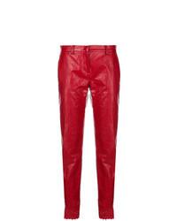 Pantalón de pinzas de cuero rojo