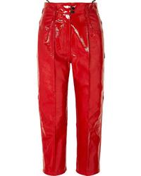 Pantalón de pinzas de cuero rojo de Petar Petrov