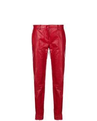 Pantalón de pinzas de cuero rojo de Philosophy di Lorenzo Serafini