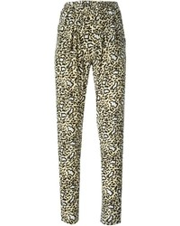 Pantalón de pinzas de leopardo marrón claro
