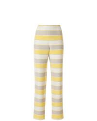 Pantalón de pinzas de rayas horizontales en beige de Giorgio Armani Vintage