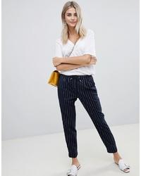Pantalón de pinzas de rayas verticales azul marino de Only