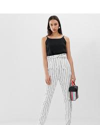 Pantalón de pinzas de rayas verticales blanco de Asos Tall