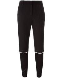 Pantalón de pinzas de rayas verticales negro de DKNY