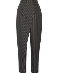 Pantalón de pinzas de rayas verticales negro
