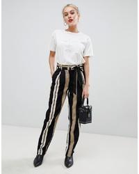 Pantalón de pinzas de rayas verticales negro de Parisian