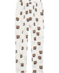 Pantalón de pinzas de seda blanco