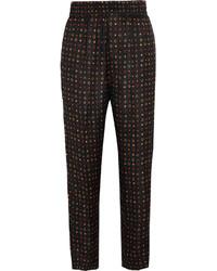 Pantalón de pinzas de seda estampado negro de Isabel Marant