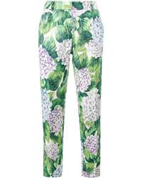 Pantalón de pinzas de seda estampado verde de Dolce & Gabbana