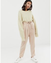 Pantalón de pinzas en beige de ASOS DESIGN