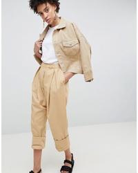 Pantalón de pinzas en beige de ASOS WHITE