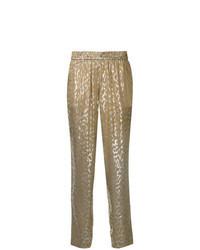 Pantalón de pinzas estampado dorado
