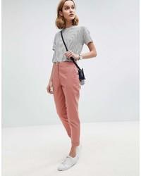 Pantalón de pinzas rosado de Asos