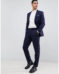 Pantalón de vestir a cuadros azul marino de Burton Menswear