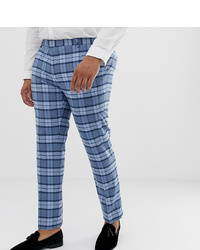 Pantalón de vestir a cuadros azul de Twisted Tailor