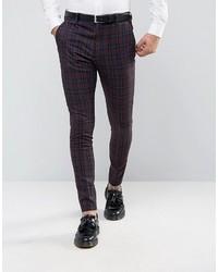 Pantalón de vestir a cuadros burdeos
