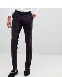 Pantalón de vestir a cuadros burdeos de Twisted Tailor
