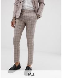 Pantalón de vestir a cuadros en beige de Twisted Tailor