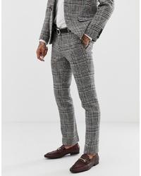 Pantalón de vestir a cuadros gris de Twisted Tailor