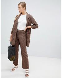 Pantalón de vestir a cuadros marrón de Monki