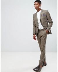 Pantalón de vestir a cuadros marrón de Selected Homme