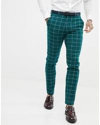 Pantalón de vestir a cuadros verde oscuro de ASOS DESIGN