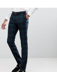 Pantalón de vestir a cuadros verde oscuro de Twisted Tailor