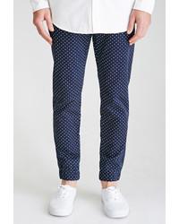 Pantalón de Vestir a Lunares Azul Marino y Blanco
