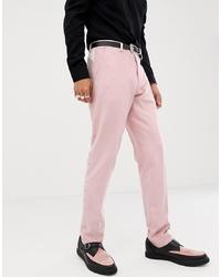 Pantalón de vestir bordado rosado de ASOS DESIGN