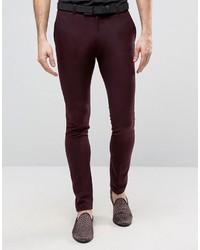 Pantalón de Vestir Burdeos de Asos