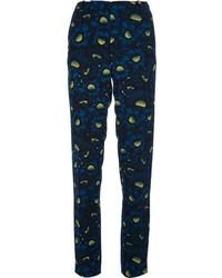 Pantalón de vestir con print de flores azul marino de Kenzo