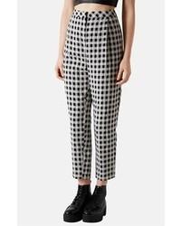 Pantalón de vestir de cuadro vichy en blanco y negro