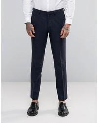 Pantalón de Vestir de Espiguilla Azul Marino de Asos