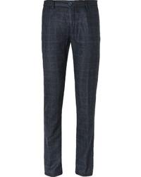 Pantalón de vestir de lana a cuadros azul marino