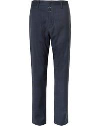 Pantalón de vestir de lana a cuadros azul marino de Oamc